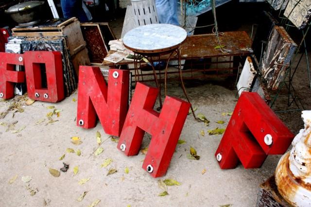 Red Vintage Shop Letters